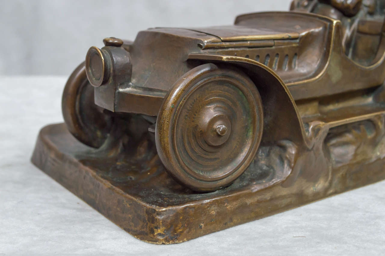 Austrian Bronze Inkwell of an Automobile and Driver For Sale 4