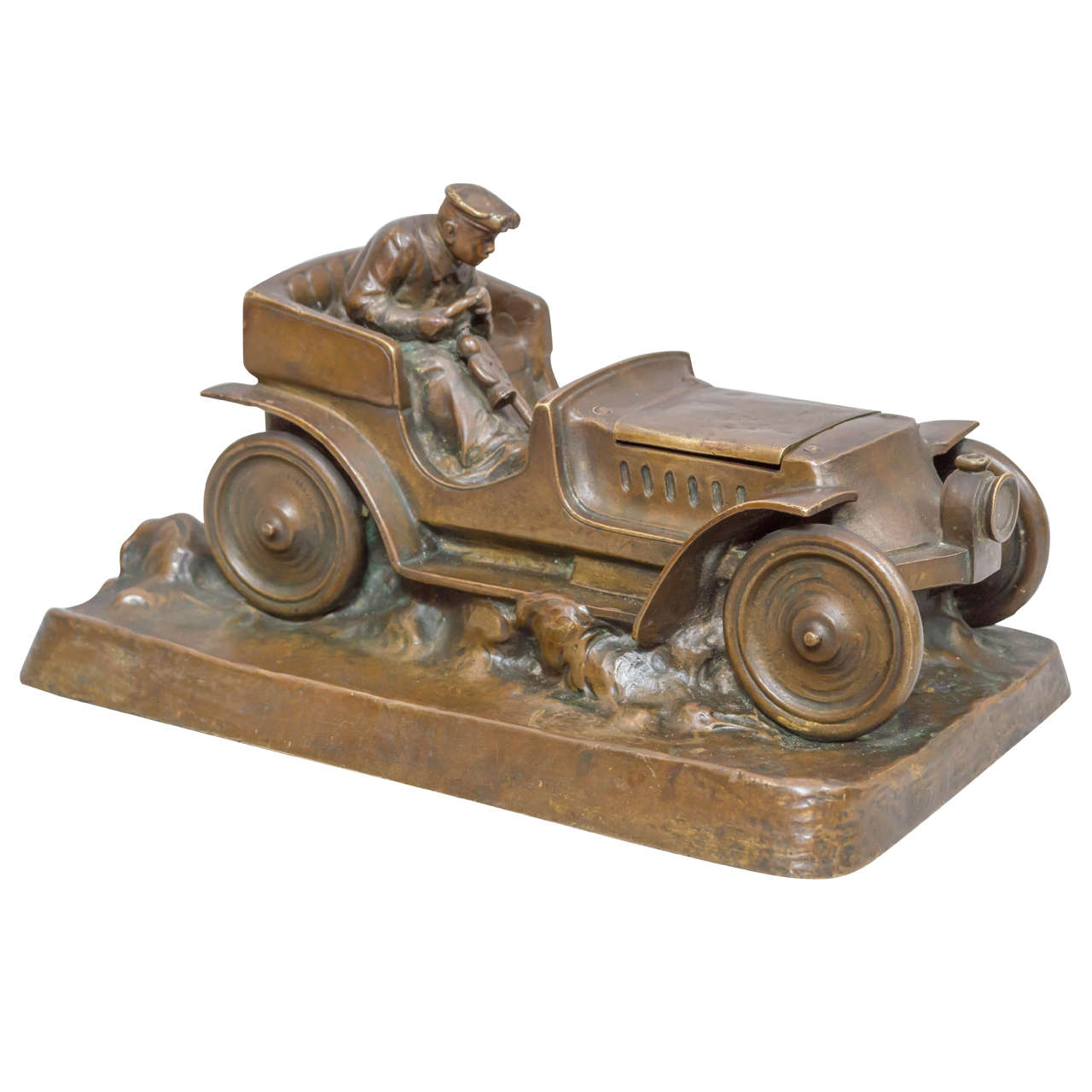 Austrian Bronze Inkwell of an Automobile and Driver For Sale