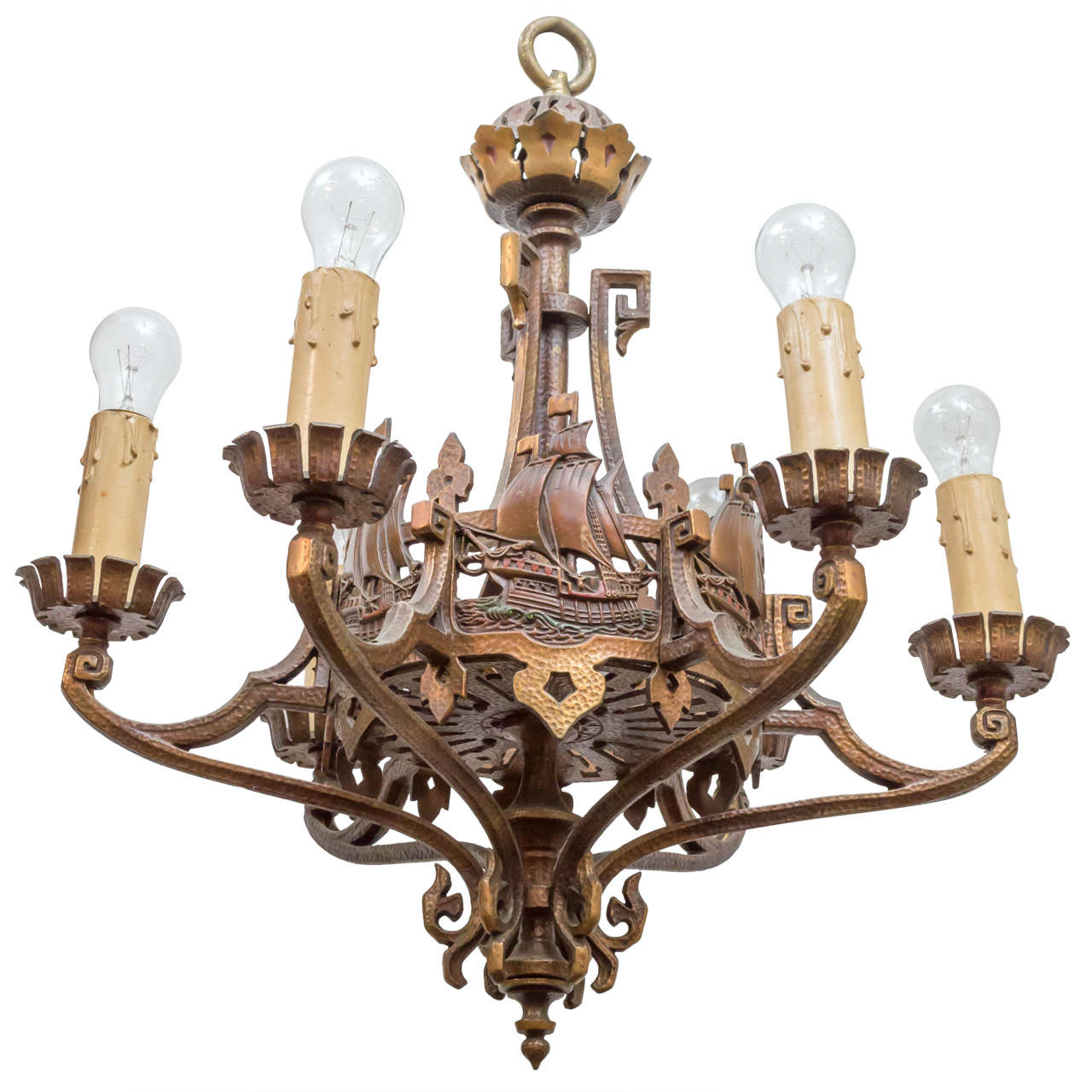 Six Light Bronze Chandelier Or Nautical Interest For Sale At 1stdibs