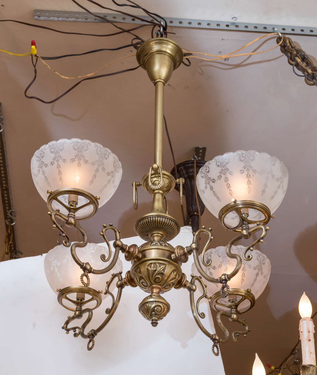 Late Victorian Gas Style Chandelier Designs