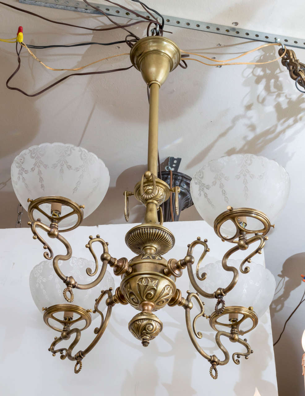 Late victorian four arm gas chandelier with deep etched glass late victorian four arm gas chandelier with deep etched glass shades 3 arubaitofo Images