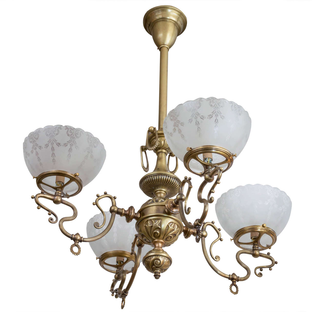 Late victorian four arm gas chandelier with deep etched glass late victorian four arm gas chandelier with deep etched glass shades for sale mozeypictures Image collections