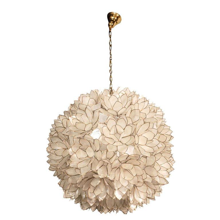 two globular capiz shell chandelier french 1960s at 1stdibs. Black Bedroom Furniture Sets. Home Design Ideas