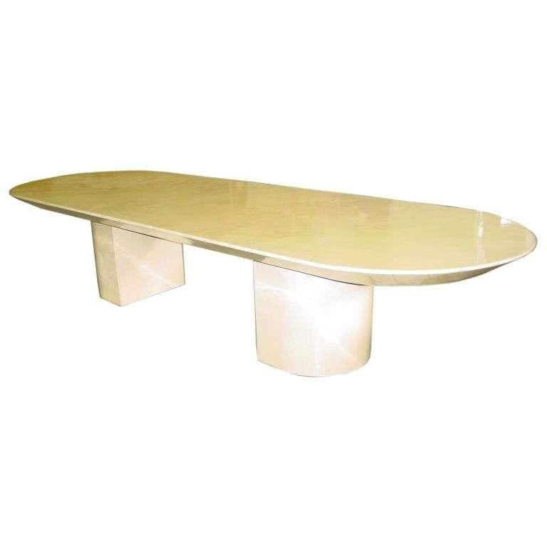 custom made karl springer parchment goatskin dining table at 1stdibs