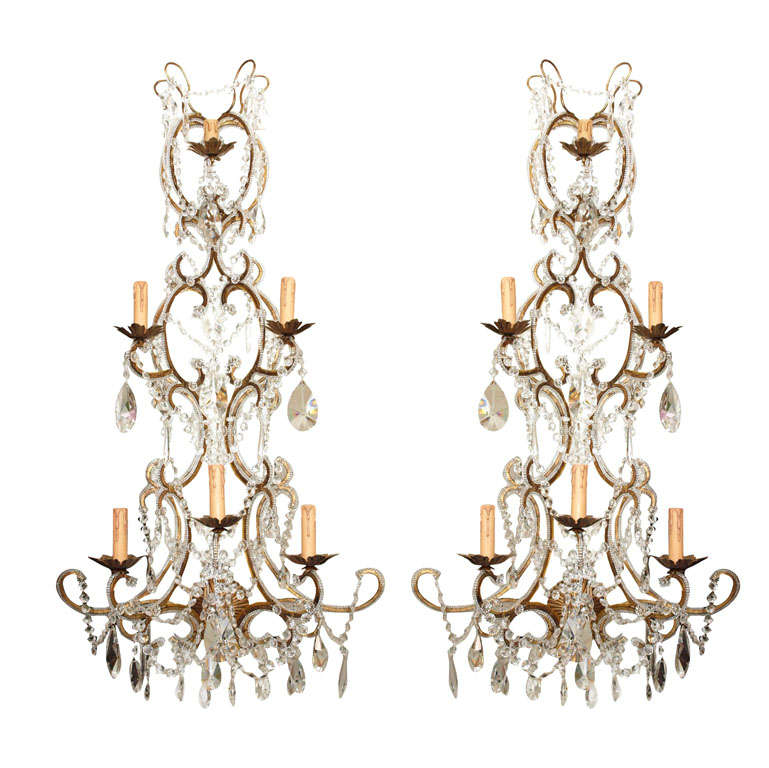 Pair of Monumental Italian Beaded Crystal Sconces at 1stdibs