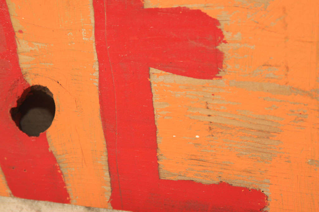 Vintage Folk Art Fruit Stand Sign In Distressed Condition For Sale In Seattle, WA