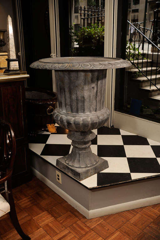 Pair of Cast Iron Urns For Sale 1