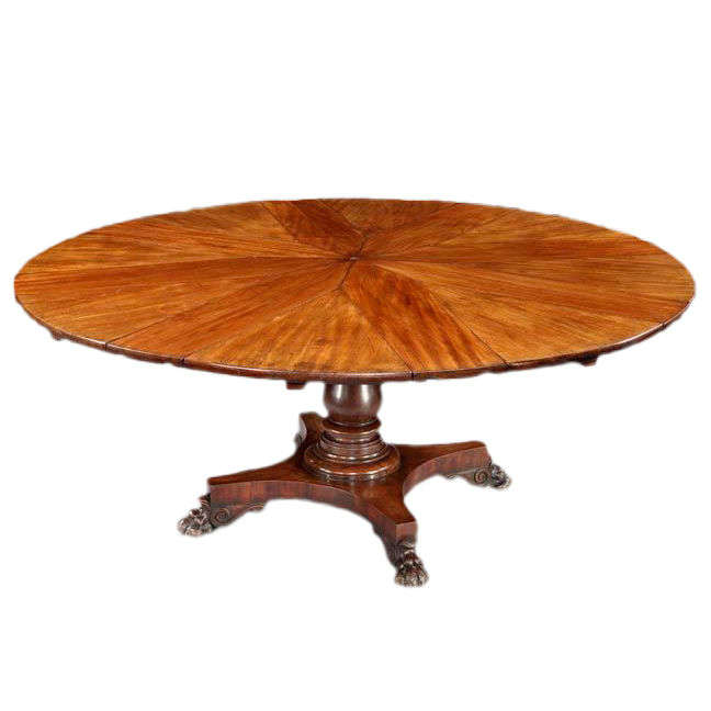 Circular Mahogany Expanding Jupe Table For Sale
