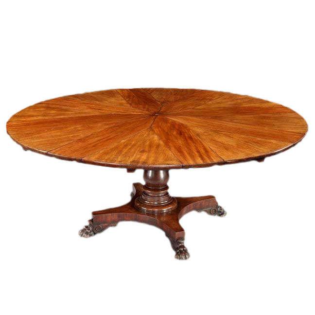 circular mahogany expanding jupe table