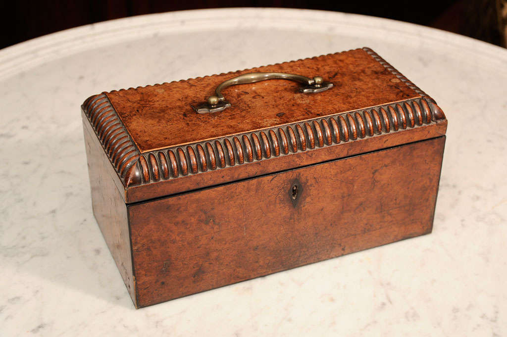 William VI Burr Walnut Tea Caddy 8