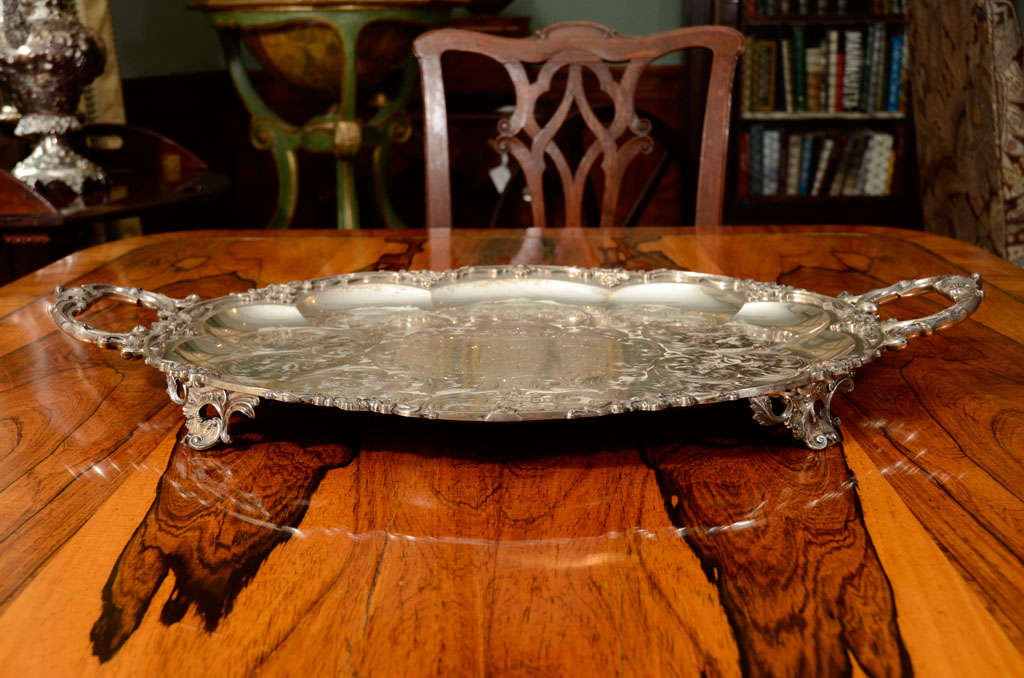 A Stunning American Silver Two Handled Presentation Tray image 4