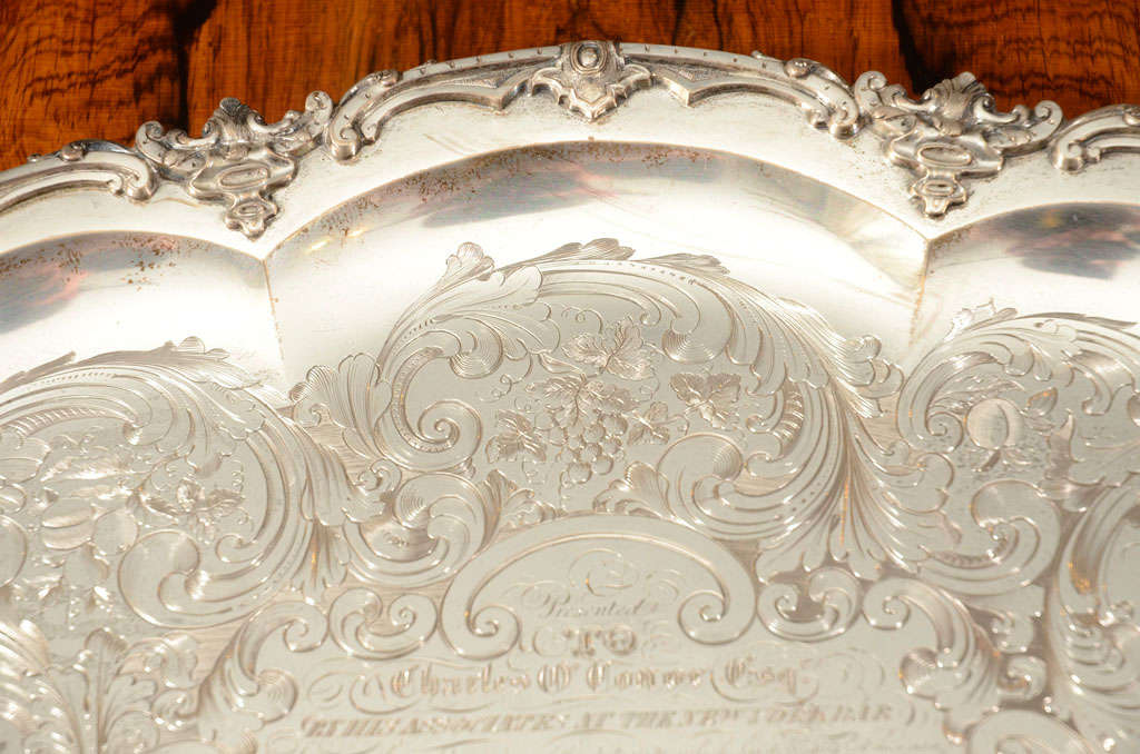 A Stunning American Silver Two Handled Presentation Tray image 7