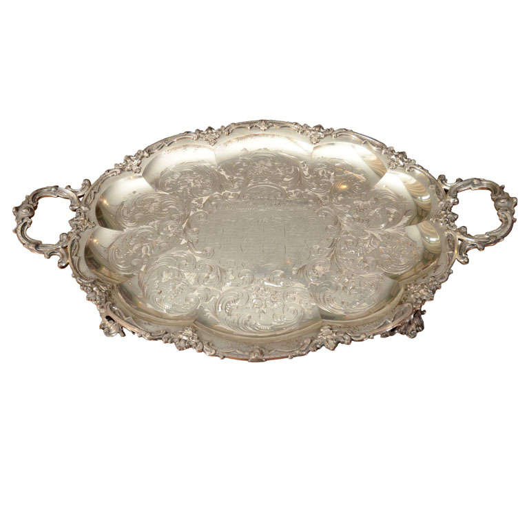 A Stunning American Silver Two Handled Presentation Tray