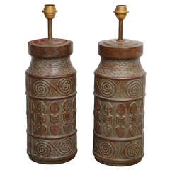 Pair of Solid Bronze Lamps