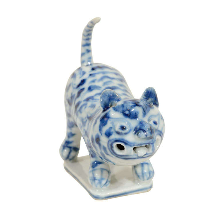 A Chinese Blue And White Tiger At 1stdibs