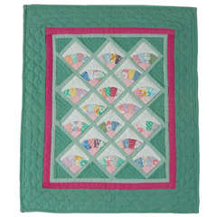 Miniature 1940s Pastel Fans Mounted Doll Quilt