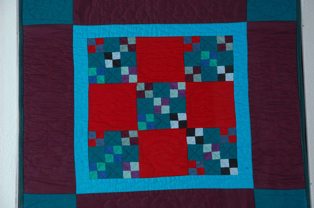 Folk Art Rare 1940s Lancaster, Pa. Amish Postage Stamp Chain Doll Quilt For Sale