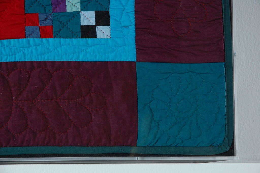American Rare 1940s Lancaster, Pa. Amish Postage Stamp Chain Doll Quilt For Sale