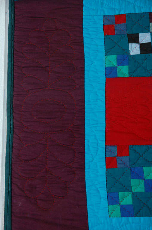 Mid-20th Century Rare 1940s Lancaster, Pa. Amish Postage Stamp Chain Doll Quilt For Sale