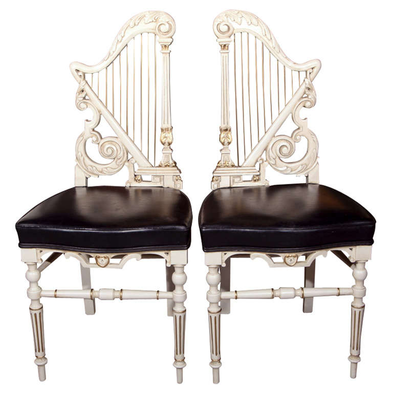 Pair of Painted Harp Back Side Chairs