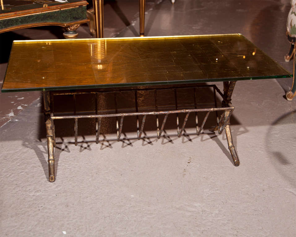Argentine Faux Bamboo Gilt Glass Coffee Table by Jansen For Sale
