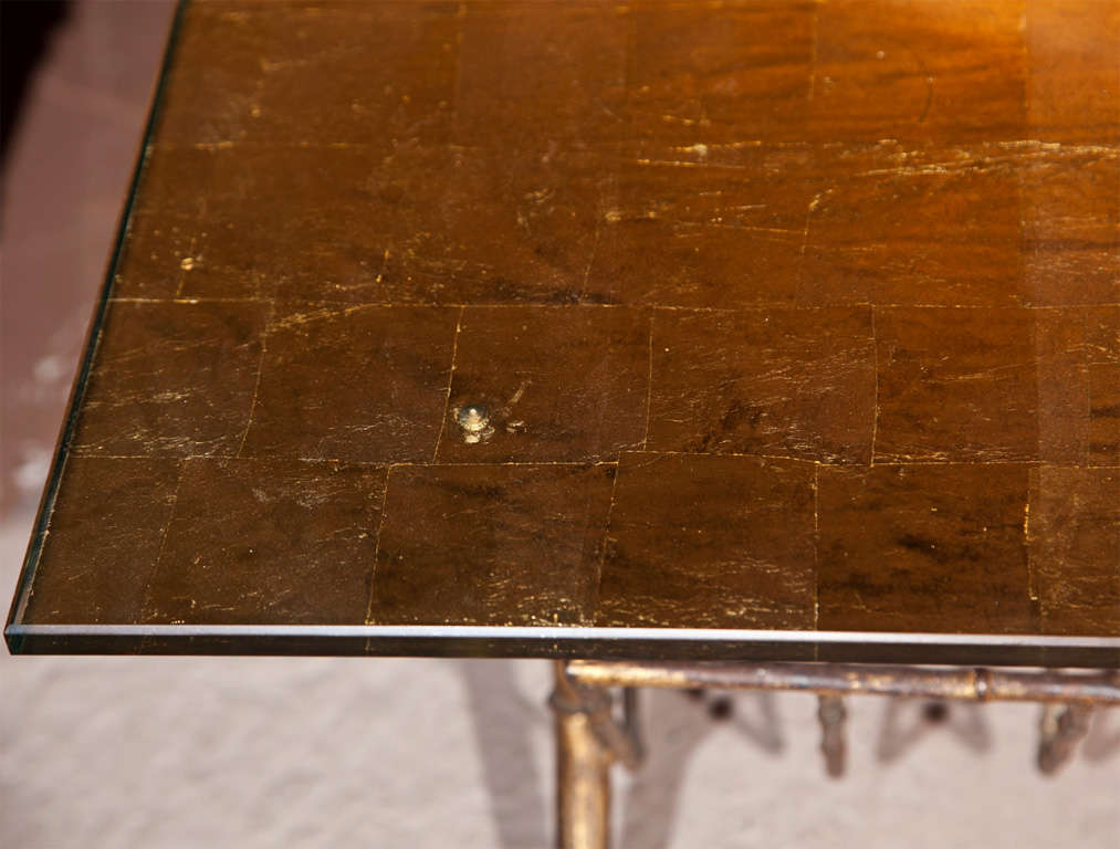 Faux Bamboo Gilt Glass Coffee Table by Jansen In Excellent Condition For Sale In Stamford, CT