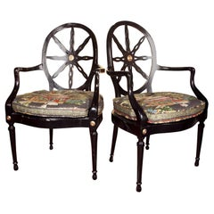 Pair of Hollywood Regency Style Ebonized Armchairs