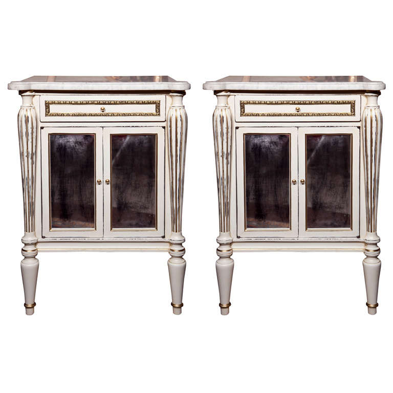 Pair White Painted Marble-Top End Tables Distressed Mirrored Cabinets by Jansen