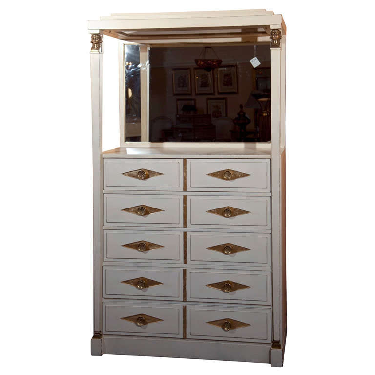 French Empire Style Painted Vanity Dresser By Grosfeld