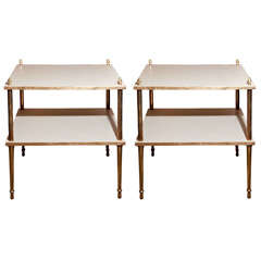 Pair of Two Tier End Tables by Grosfeld House