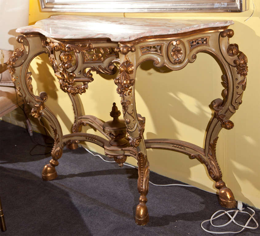 French rococo style marble top console table at 1stdibs for French rococo style