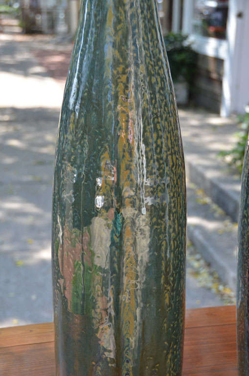 Contemporary Thai Glazed Bottle Neck Vase For Sale 1