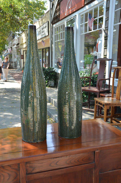 Contemporary Thai drip bottleneck vase (pair available, priced and sold separately.)
