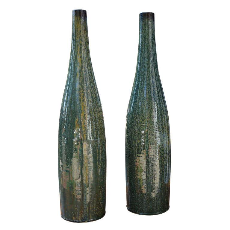 Contemporary Thai Glazed Bottle Neck Vase For Sale