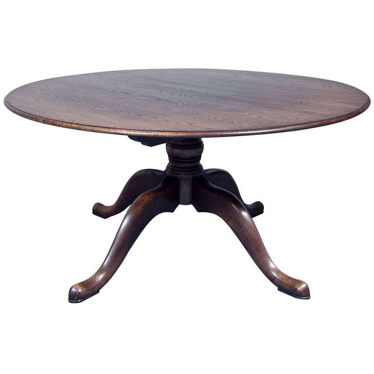 "Custom English 60"" Diameter Oak Dining Table For Sale"