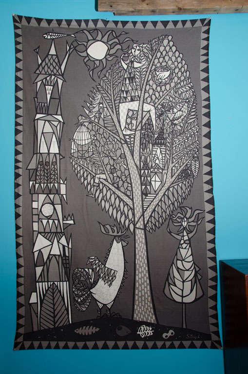 Stig Lindberg Fabric Wall Hanging At 1stdibs