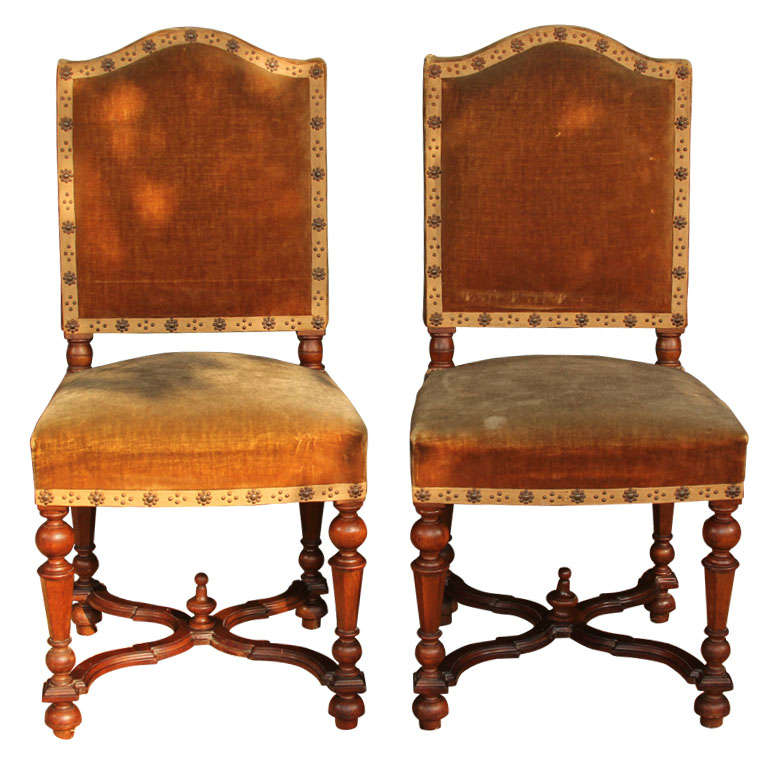 Antique Slipper Chair Set of 6 French Louis XIII style chairs. at 1stdibs