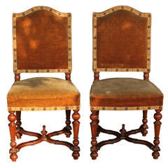 Set of 6 French Louis XIII style chairs.