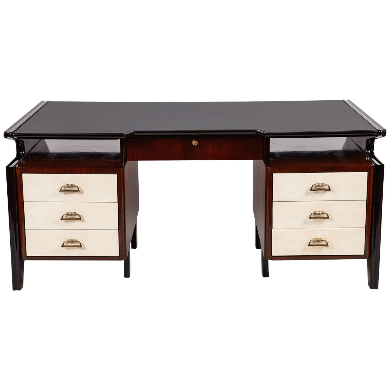 Important Executive Rosewood Desk Attributed to Carlo de Carli, 1950