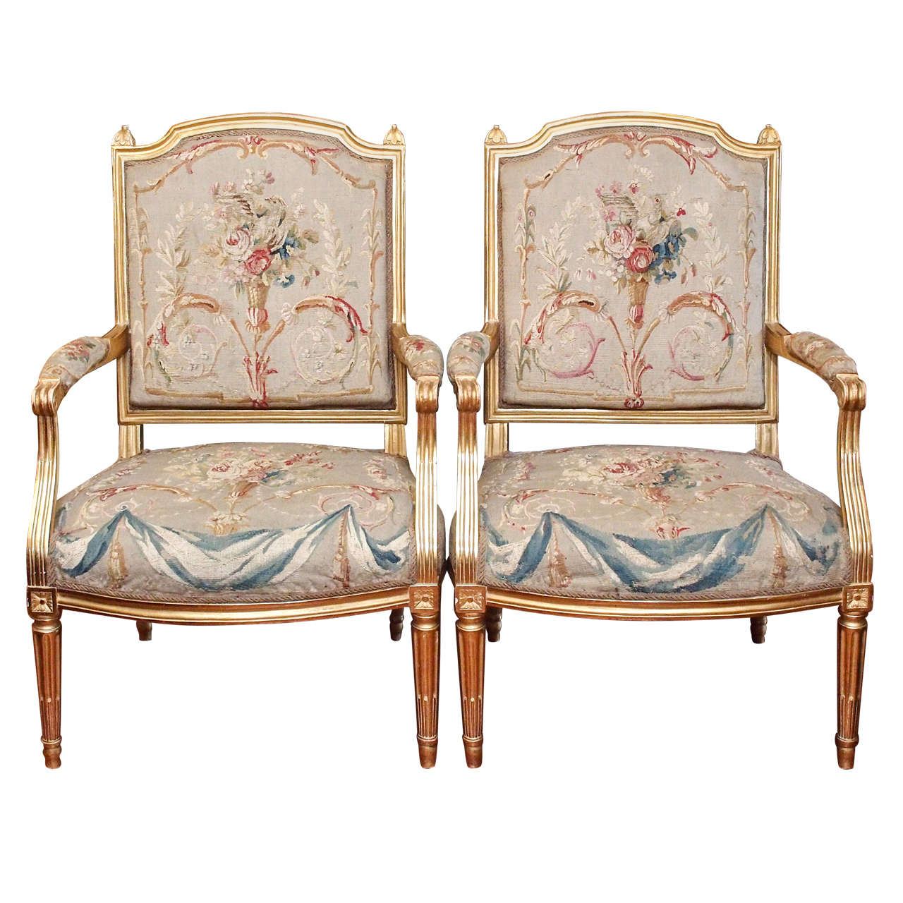 Pair Of Louis XVI Gilt Wood Fauteuil With Aubusson Covering 1