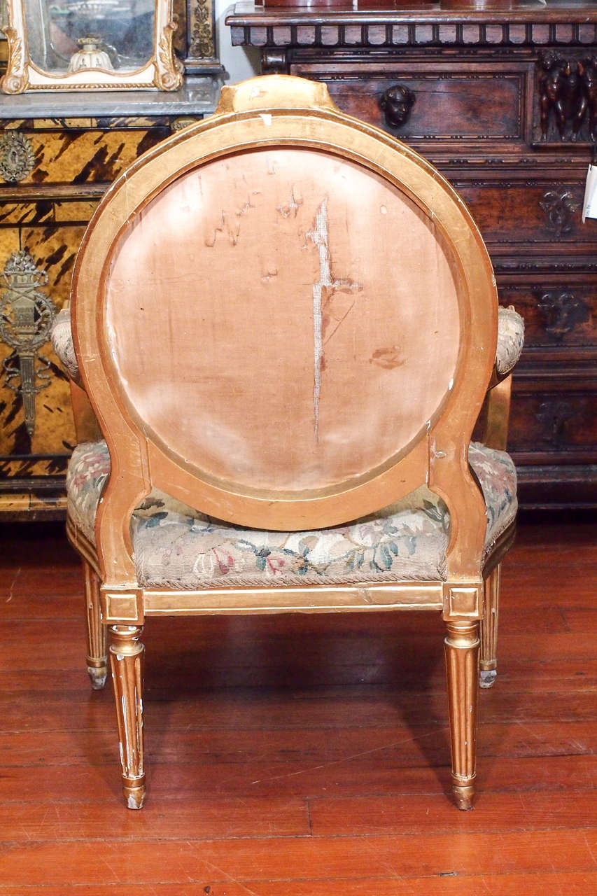 Pair Of Period Louis Xvi Gilt Oval Back Chairs For Sale At