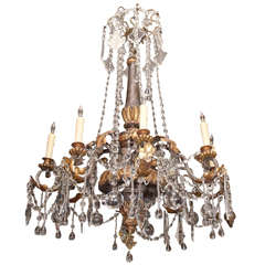 Italian  18th Two Tiered Gilt wood, Iron and Crystal Chandelier