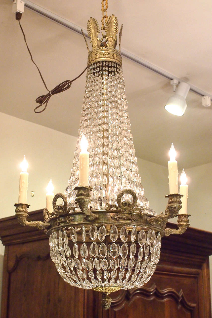 Bronze and Crystal Empire Chandelier with 6 arms 2