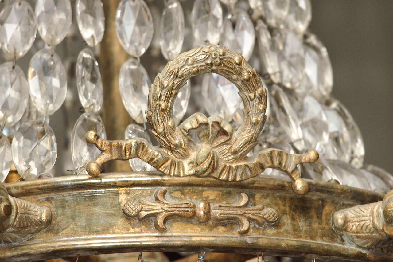 Bronze and Crystal Empire Chandelier with 6 arms 6