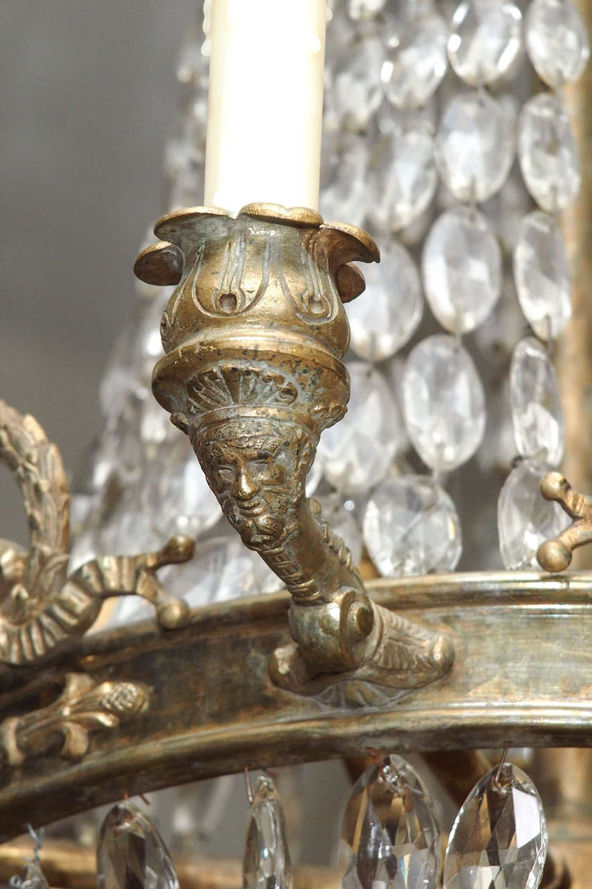 Bronze and Crystal Empire Chandelier with 6 arms 8