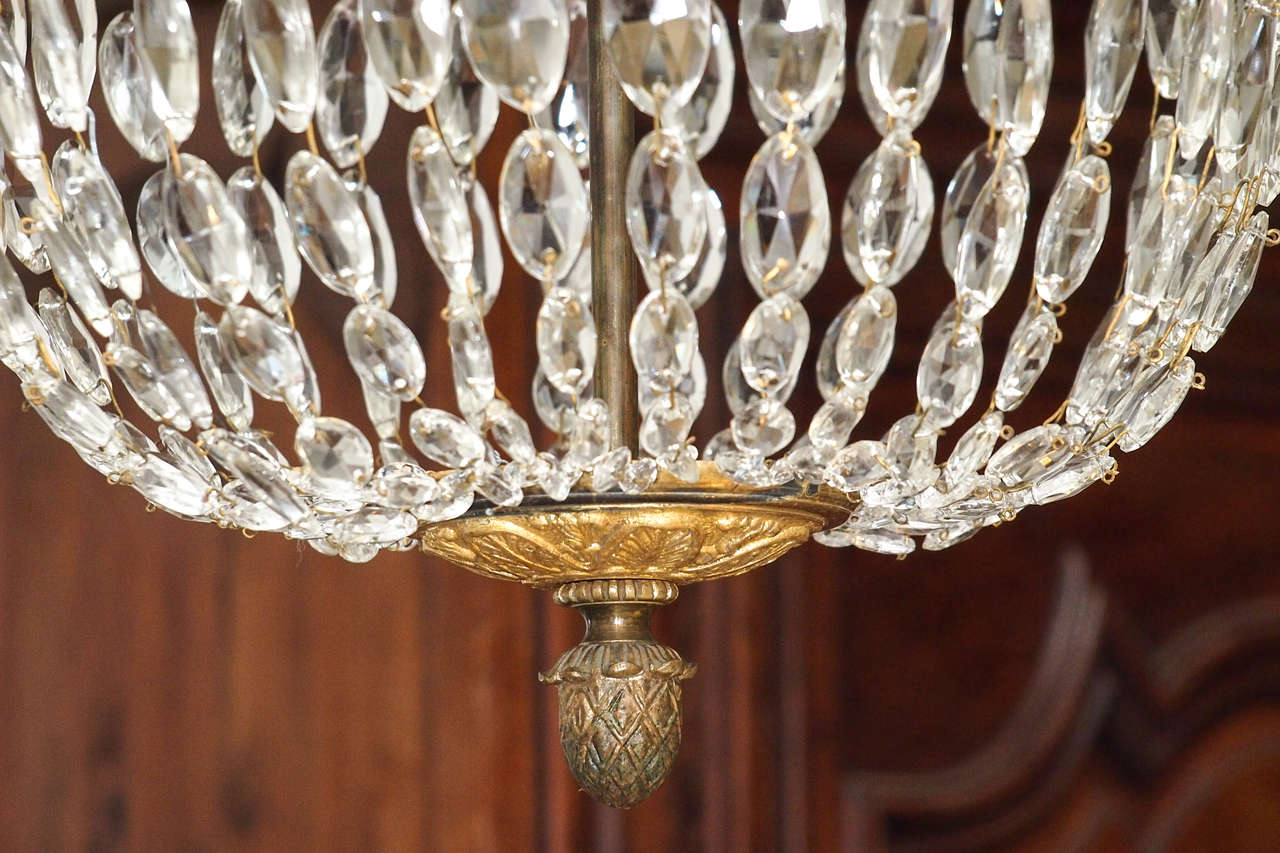 Bronze and Crystal Empire Chandelier with 6 arms 9