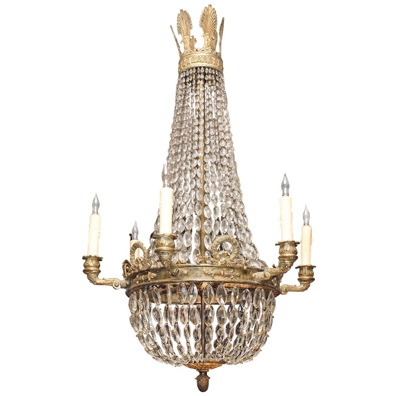 bronze and crystal empire chandelier with 6 arms 1