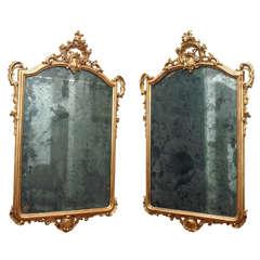 Pair of Period Louis XV Gilt Wood Mirrors