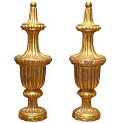 Pair Of 19th C. Gilt Wood Finials