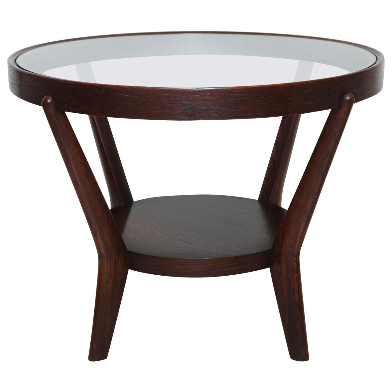 Round Oak And Glass Side Table At 1stdibs